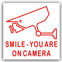 1 x Red on White-87mm-Smile You Are On Camera Stickers-CCTV In Operation Warning Security Signs-Home,Premises,Business-Self Adhesive Vinyl